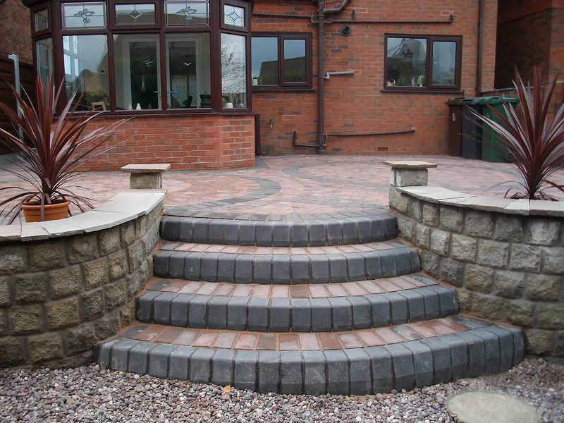 Block paved patio & steps in County Durham, Northeast