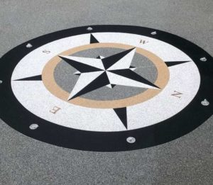 Custom compass design incorporated into Resin Driveway
